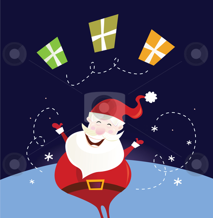Vector - Santa claus with christmas presents stock vector clipart, Cute christmas Santa in red costume Vector Illustration by BEEANDGLOW