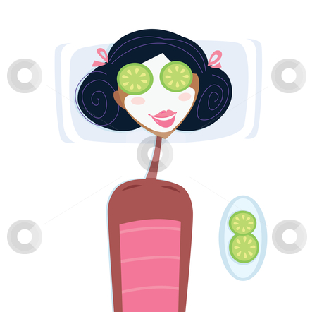 Vector - Spa - woman with facial mask stock vector clipart, Illustration of woman with facial mask relaxing in spa Isolated on white - you can add your own copyspace by Jana Guothova