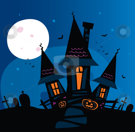 Vector - Haunted scary house stock vector clipart, Old scary mansion Vector Illustration by Jana Guothova