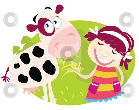 Vector - Farm girl with small cow stock vector clipart, Small child is feeding cute calf Vector Illustration by Jana Guothova