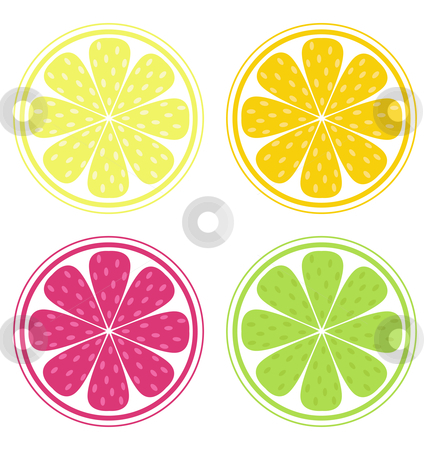 Vector - Citrus fruit background vector - Lemon, Lime and Orange stock vector clipart, Citrus texture background with slices of lemon, lime, grapefruit and orange isolated on white Vector stylized background by Jana Guothova