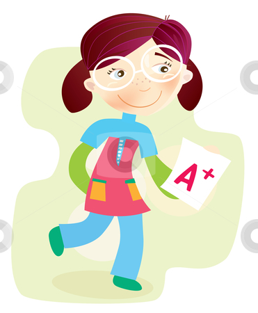 Vector - School Girl with test result stock vector clipart, Happy cartoon girl with exam report Vector Illustration by BEEANDGLOW