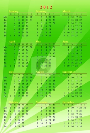 Green calendar 2012 stock photo, Illustrated green calendar 2012 by Gowtum Bachoo