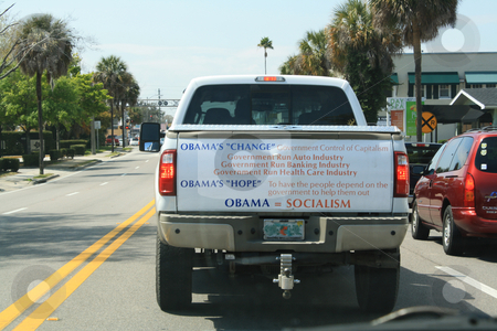 Anti-obama Pickup Truck stock photo, A pickup truck with an anti-Obama, anti-socialism message painted on the tailgate, photographed on the highway in Orlando, Florida in March, 2010.  Editorial use only. by Carl Stewart