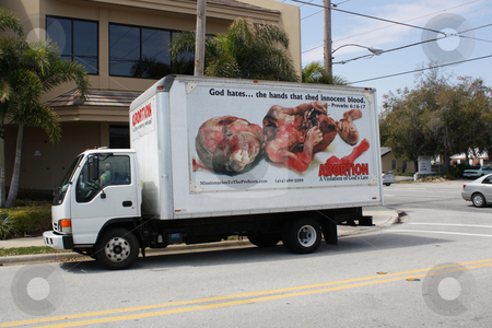 Pro-life Truck stock photo, A pro-life truck, photographed at a demonstration in Orlando, Florida in March, 2010.  Editorial use only. by Carl Stewart