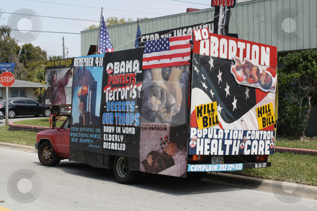 Pro-life Truck stock photo, Abortion protester truck, photographed an a pro-life demonstration in Orlando, Florida in March, 2010.  Editorial use only. by Carl Stewart