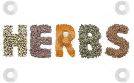 Herbs stock photo, Five different herbs arranged into HERBS word over white by Roman Milert