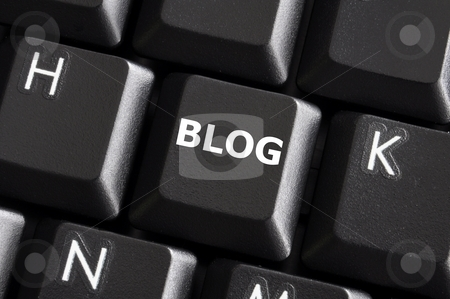 Blog button stock photo, Internet blog concept with button on computer keyboard by Gunnar Pippel