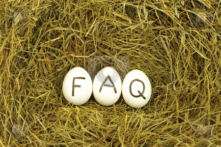Faq stock photo, Faq or frequently asked questions internet concept with eggs by Gunnar Pippel