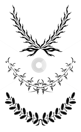 Set of Laurel Wraths stock vector clipart, Set of black flourishes designs for decoration by Oxygen64
