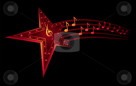 Music star stock vector clipart, Neon star with music notes isolated on black by Oxygen64