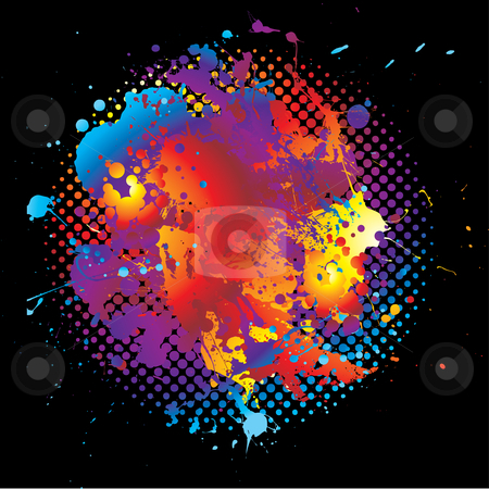 Grunge rainbow splat halftone stock vector clipart, Bright abstract rainbow background with ink splat design and halftone dot by Michael Travers