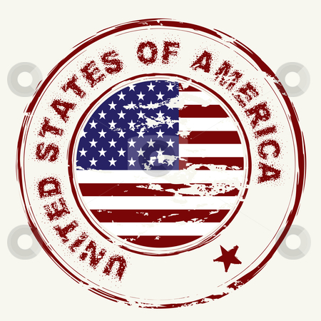 Us flag grunge ink stamp stock vector clipart, Grunge american flag with rubber stamp and worn effect by Michael Travers
