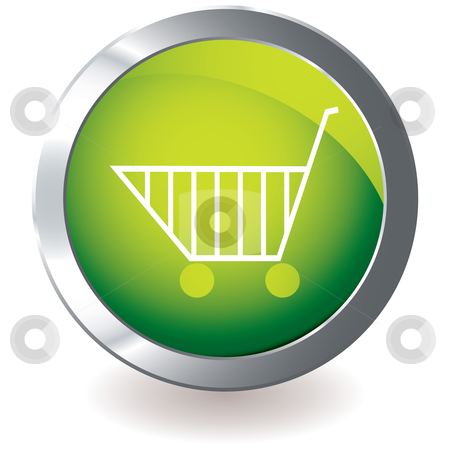 Green icon trolley stock vector clipart, Modern icon with silver metal bevel and shopping cart with shadow by Michael Travers