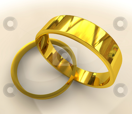 Gold wedding rings stock photo, Pair of classical golden wedding rigs entwined together with shadow by Michael Travers