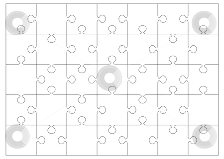 Jigsaw outline background stock vector clipart, Black and white jigsaw or puzzle outline that you can overlay on to your own image or picture by Michael Travers