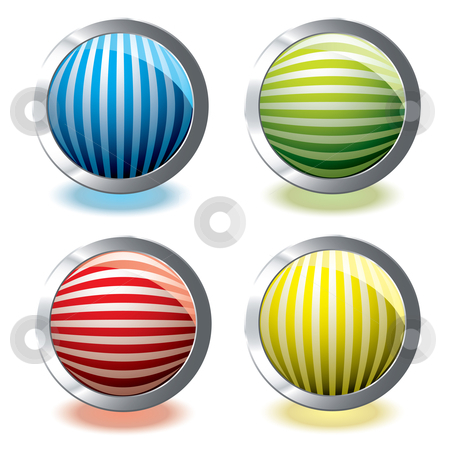 Web icon stripe stock vector clipart, Round web icons with stripes and glowing shadow by Michael Travers