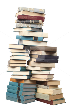 Books stock photo, Stack of different books on a white background by Dmitry Skutin