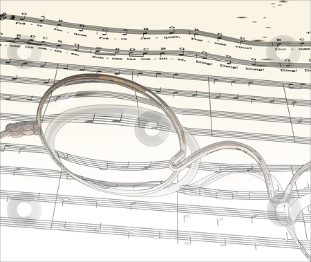 Music_outline stock vector clipart, Sheet music seen through a pair of spectacles. by William Park