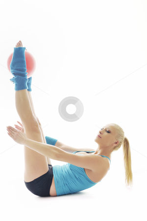 Fitness exercise  stock photo, Young beautiful woman exercise fitness pose isolated on white in studio by Benis Arapovic