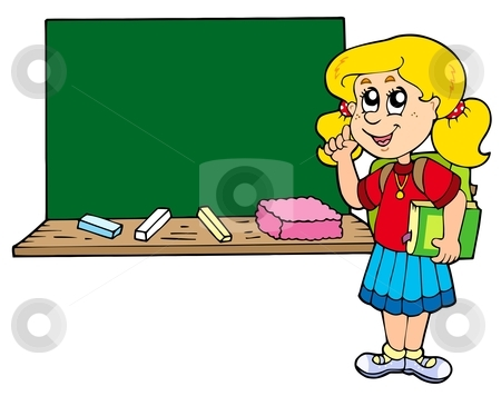 Advising school girl with blackboard stock vector clipart, Advising school girl with blackboard - vector illustration. by Klara Viskova