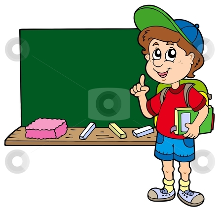 Advising school boy with blackboard stock vector clipart, Advising school boy with blackboard - vector illustration. by Klara Viskova