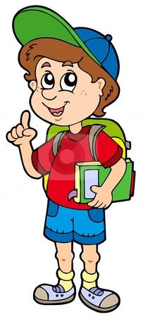 Advising school boy stock vector clipart, Advising school boy - vector illustration. by Klara Viskova