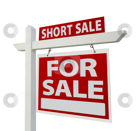 Short Sale Real Estate Sign - Right stock photo, Short Sale Real Estate Sign Isolated on White - Right Facing. by Andy Dean