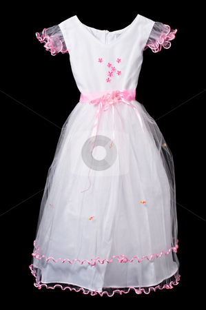 100663776 White and pink flower girl wedding dress