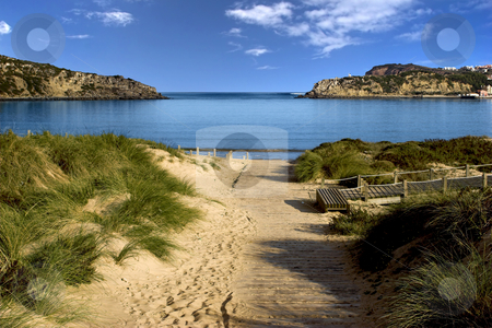Blue bay stock photo, Landscape picture of a Beautiful blue bay by ikostudio