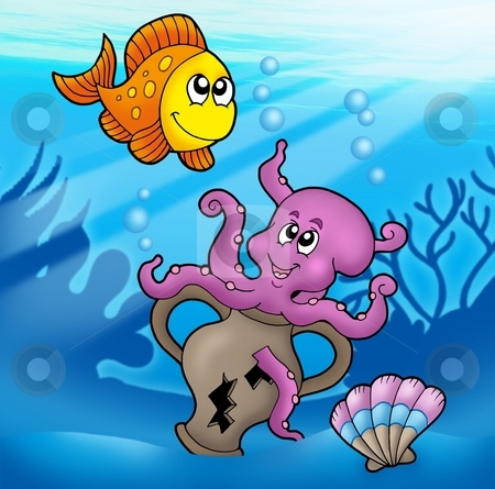 Cute octopus and orange fish stock photo, Cute octopus and orange fish - color illustration. by Klara Viskova