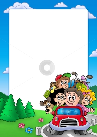 Frame with family going on vacation stock photo, Frame with family going on vacation - color illustration. by Klara Viskova