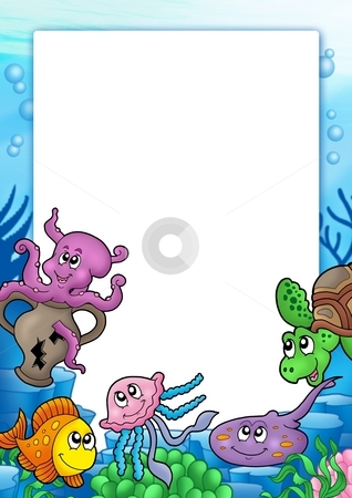 Frame with various marine animals stock photo, Frame with various marine animals - color illustration. by Klara Viskova