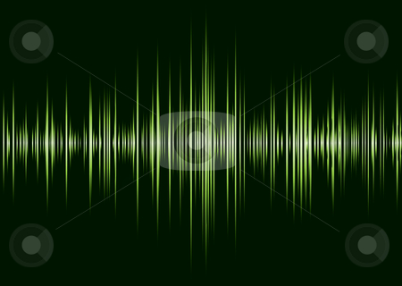 Alpa green techno beet stock vector clipart, Black and green music inspire graphic equalizer wave and black background by Michael Travers