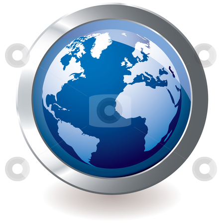 Blue icon earth globe stock vector clipart, Blue earth globe with silver metal icon and drop shadow by Michael Travers