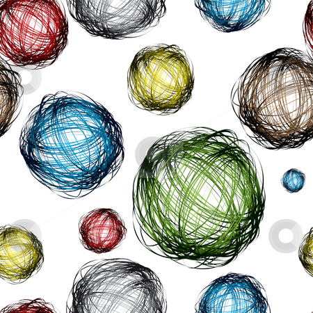 Scribble ball color stock vector clipart, Pencil scribble balls with different colors and seamless background pattern by Michael Travers