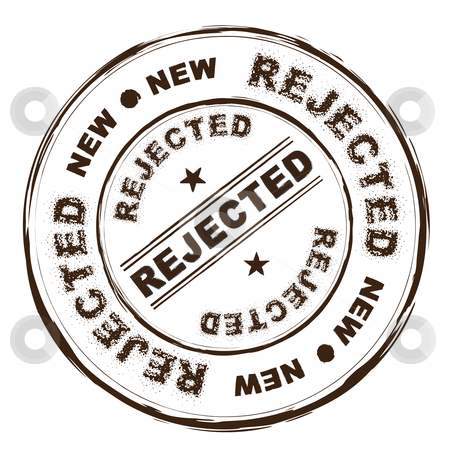 Rejected ink stamp stock vector clipart, Rejected brown rubber ink stamp with grunge effect by Michael Travers