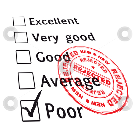 Poor evaluation failed stock vector clipart, Poor evaluation that has been failed with red ink stamp with grunge effect by Michael Travers