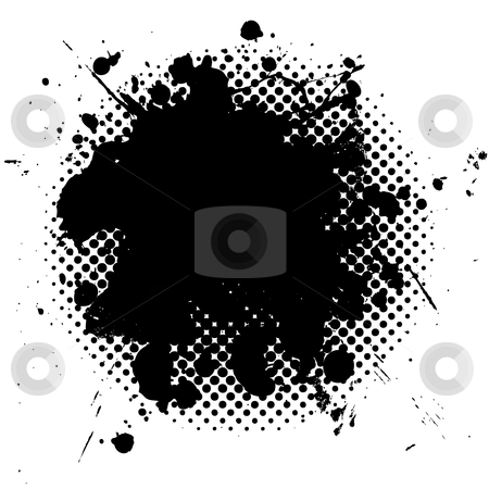 Halftone grunge ink splat black stock vector clipart, Black ink splat with grunge effect and halftone dot fade by Michael Travers