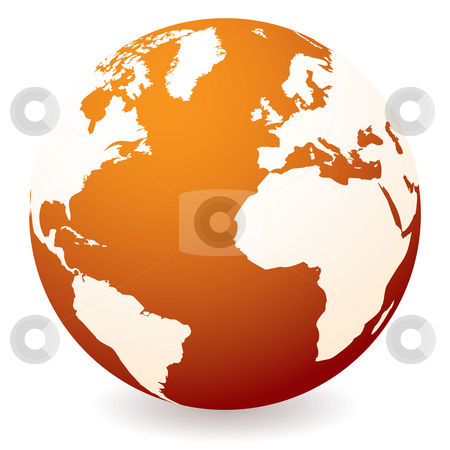 Red hot globe stock photo, Red hot earth icon showing global warming with drop shadow by Michael Travers