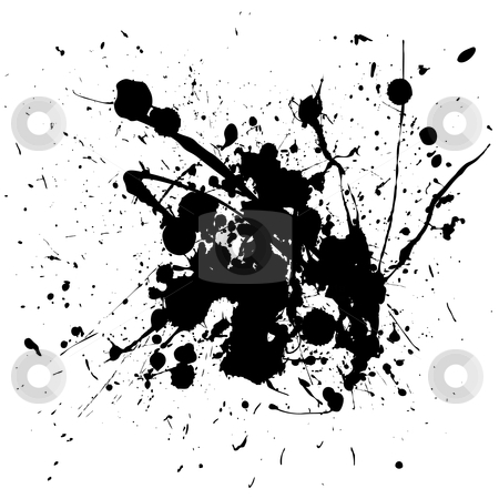 Black splat ink stock vector clipart, Ink splat image or icon on white background with spray by Michael Travers