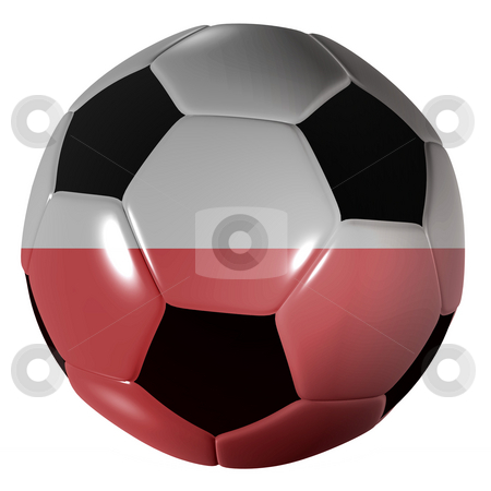 Football polish flag stock photo, Traditional black and white soccer ball or football polish flag by Michael Travers