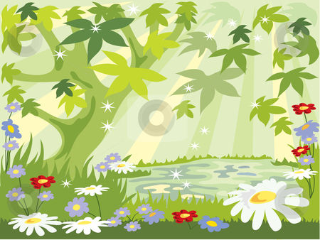 Summer leaves stock vector clipart, An illustration of a summer forest with colorful flowers grass and green leaves with pool of water by Mike Smith