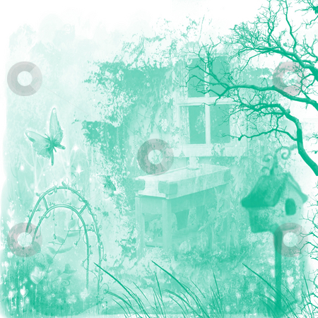Fantasy cottage grunge stock photo, Looking out the window onto a fantasy grunge garden by CHERYL LAFOND