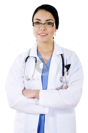 Health care professional stock photo, Stock image of female health care professional over white background by iodrakon