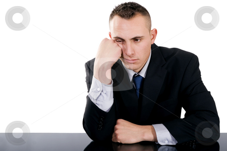 Bored businessman stock photo, Stock image of bored businessman over white background by iodrakon