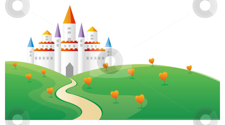 Castle stock photo, Castle in the top of hill with heart tree by Su Li