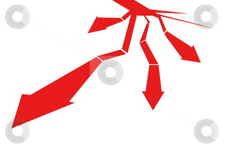 Red arrow stock photo, Drawing of red arrow in a white background by Su Li
