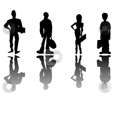 Business people stock vector clipart, Business people silhouettes, clip art cartoon characters by Richard Laschon