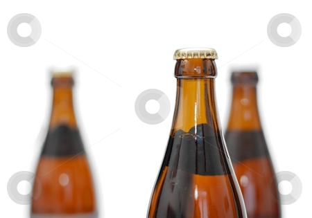Bottles stock photo, Three glasses of beer isolated on white, only one in focus by P?